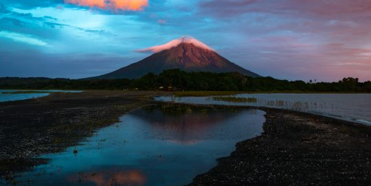 Conception Volcano at sunset, as viewed from Punta Jesus Maria, Ometepe, Nicaragua.